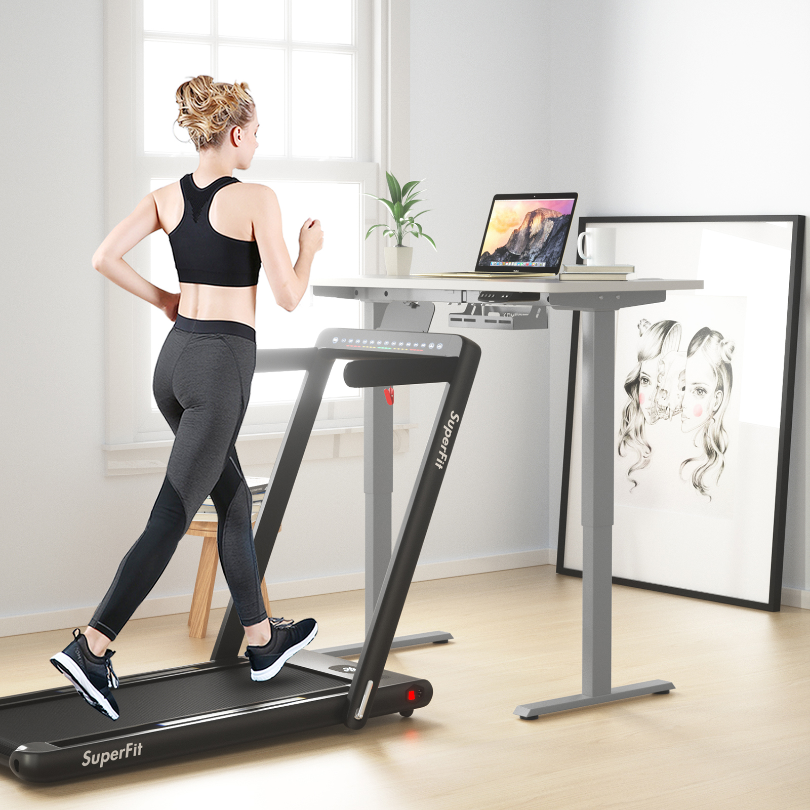thumbnail 6 - Costway Electric Standing Desk Sit to Stand Height Adjustable Table Dual Motor