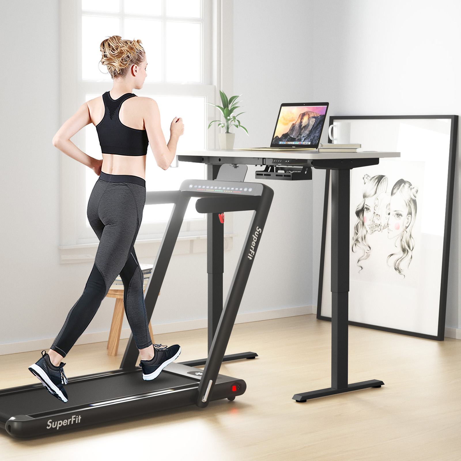 thumbnail 18 - Costway Electric Standing Desk Sit to Stand Height Adjustable Table Dual Motor