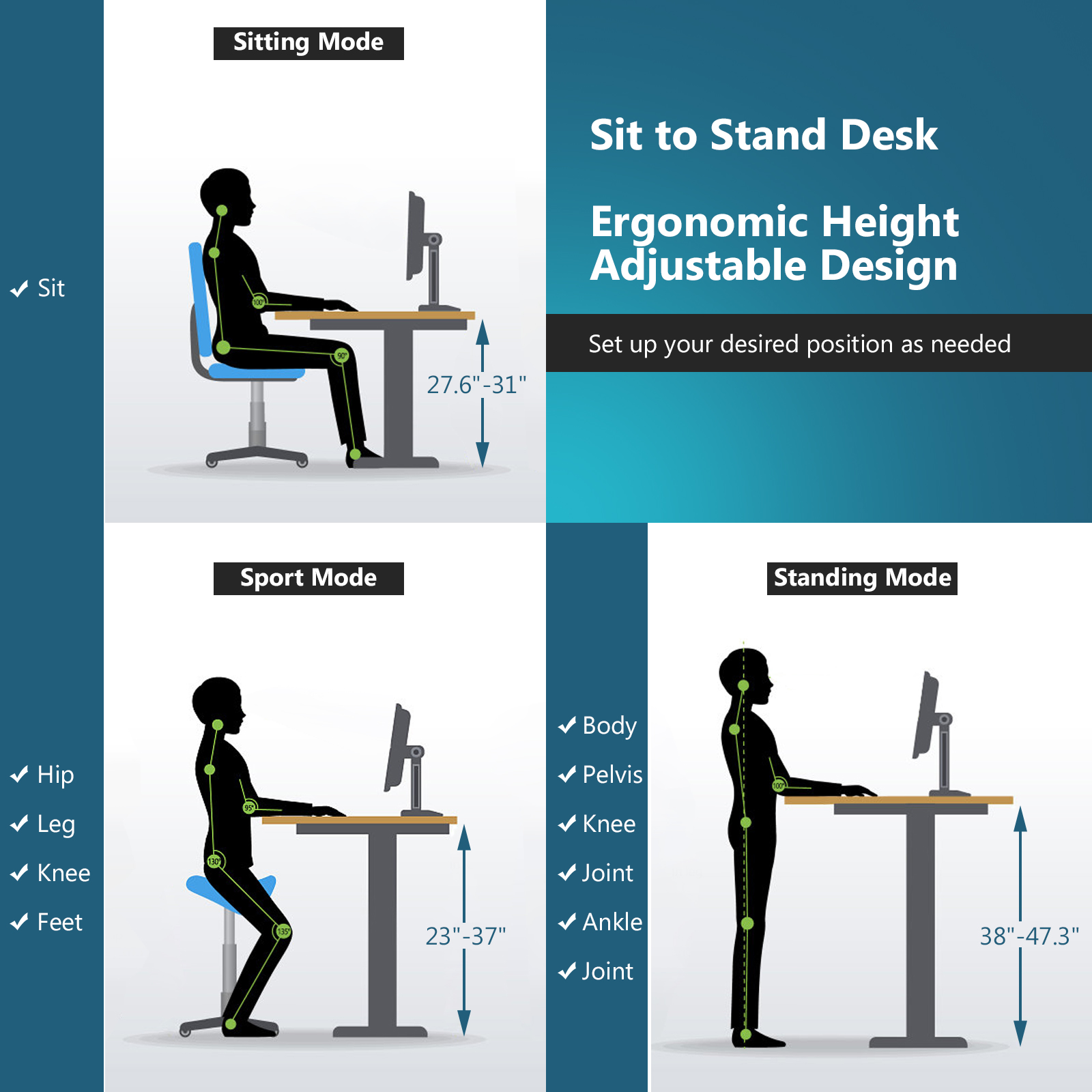 thumbnail 7 - Costway Electric Standing Desk Sit to Stand Height Adjustable Table Dual Motor