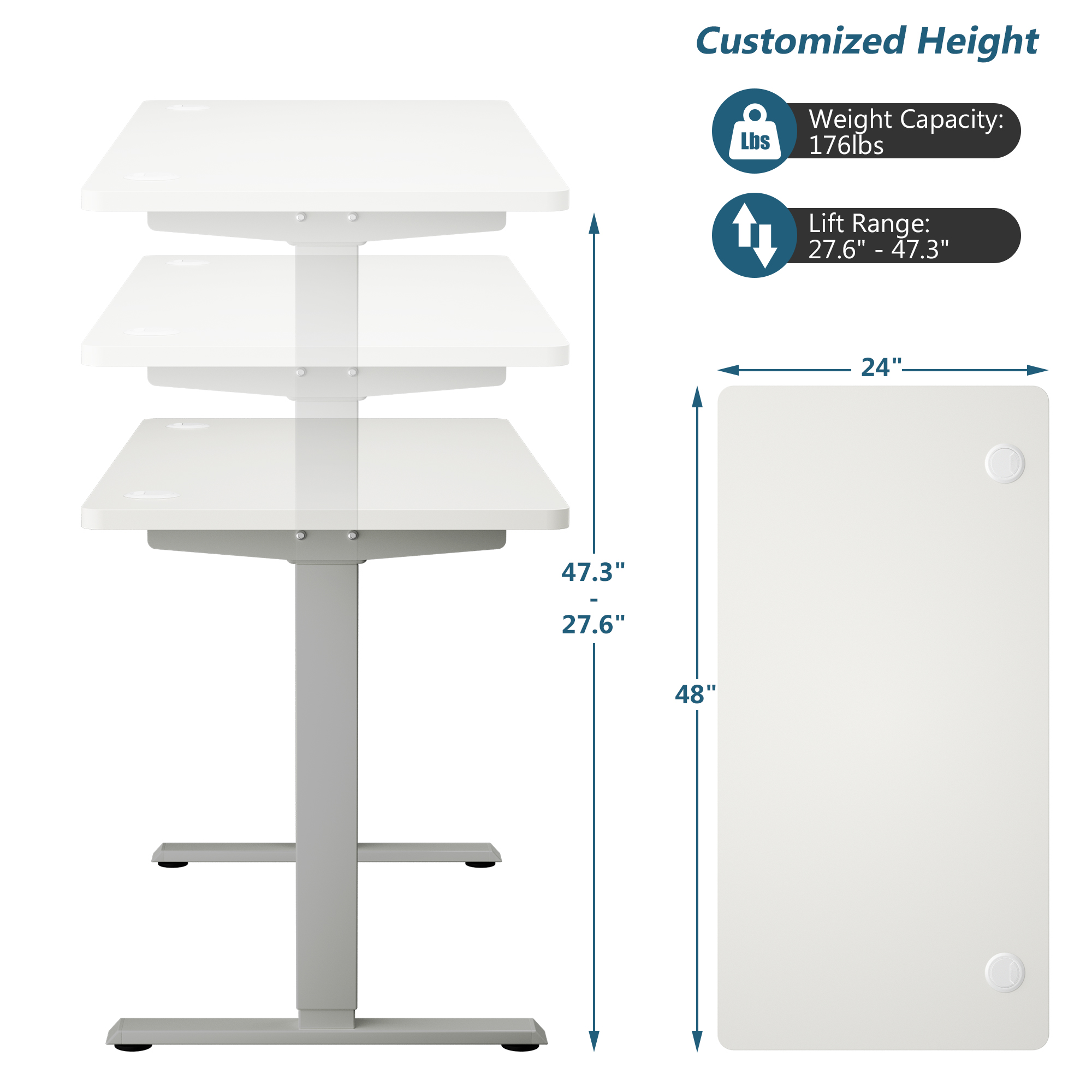 thumbnail 5 - Costway Electric Standing Desk Sit to Stand Height Adjustable Table Dual Motor