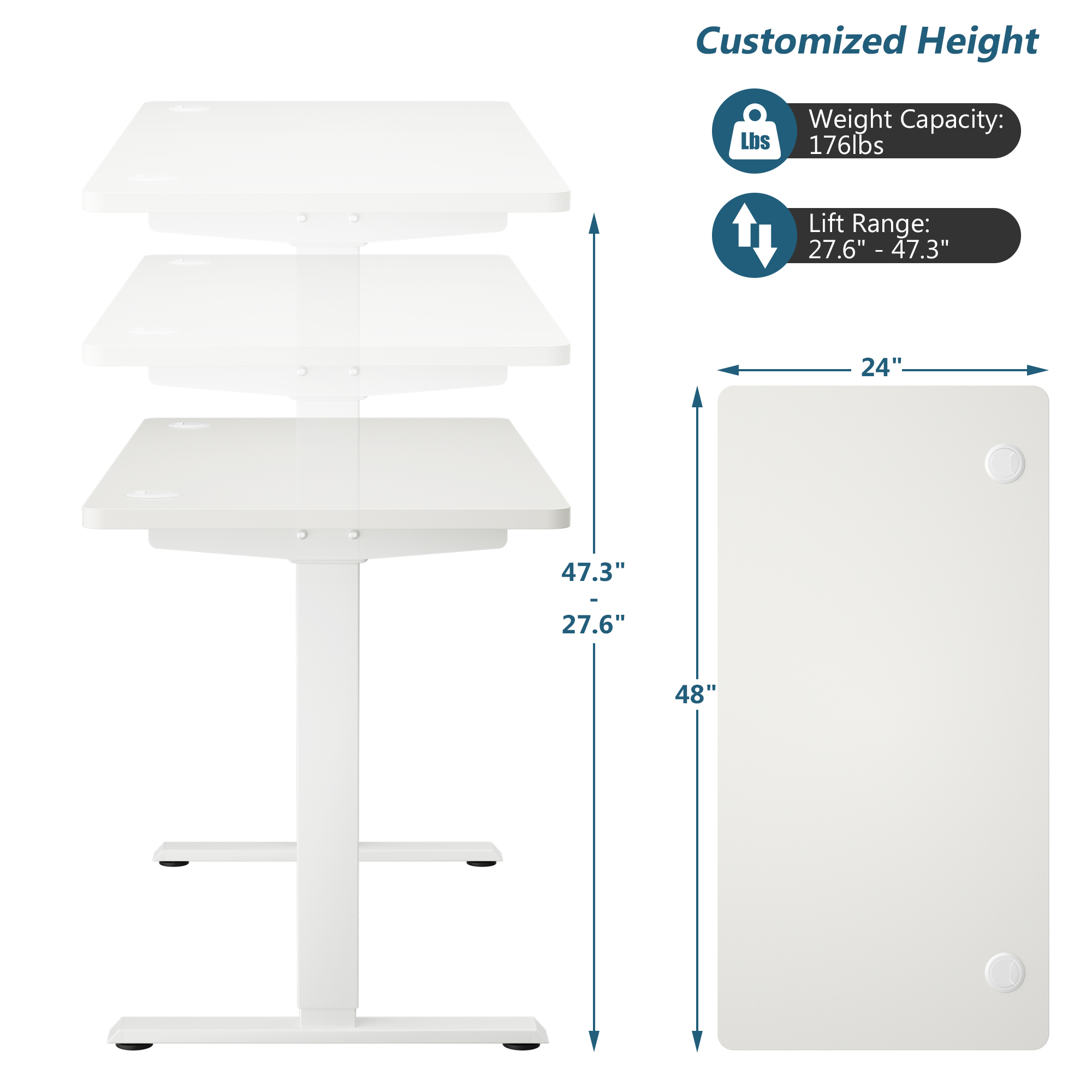 thumbnail 11 - Costway Electric Standing Desk Sit to Stand Height Adjustable Table Dual Motor